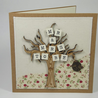 Mr and Mrs To Be Fabric Engagement Greetings Card