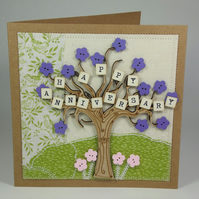 Happy Anniversary Fabric Greetings Card