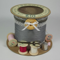 Slate Grey Cotton Reel Style Storage Pot