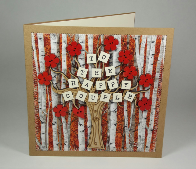 To The Happy Couple Wedding Day Fabric Card