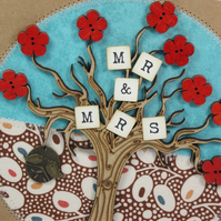 Mr and Mrs Fabric Wedding Day Greetings Card