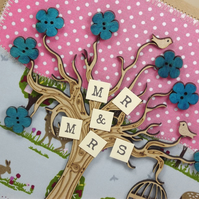 Mr and Mrs Wedding Day Fabric card