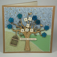 Mr and Mrs Fabric Wedding Greetings Card