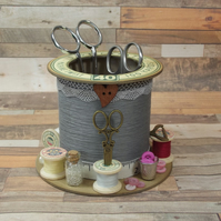 Grey Love Cotton Reel Style Storage Pot