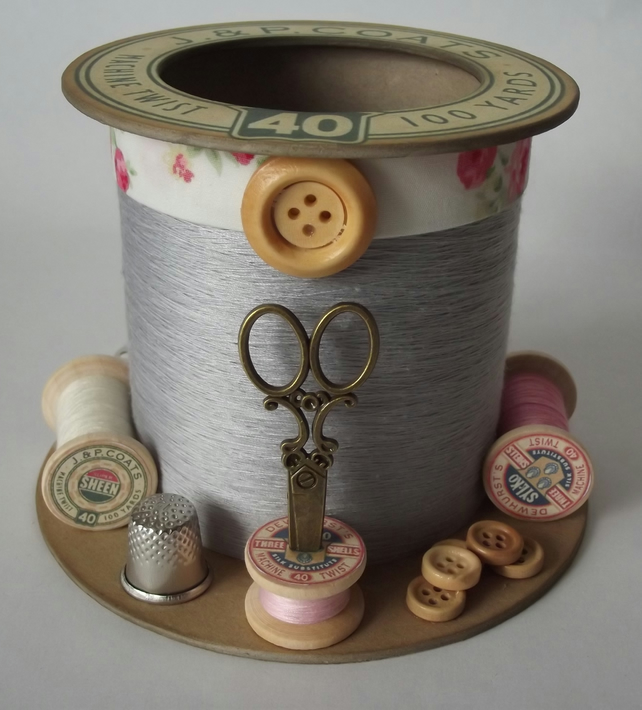 Land of Pink and Grey Cotton Reel Style Storage Pot