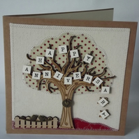 Happy Anniversary Fabric Wedding Greetings Card