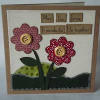 May You Grow A Wonderful Life Together Fabric Wedding Greetings Card