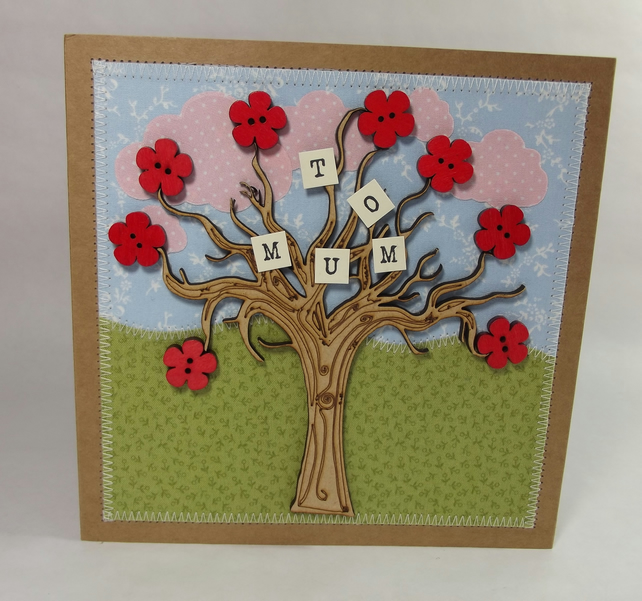 To Mum Fabric Greetings Card