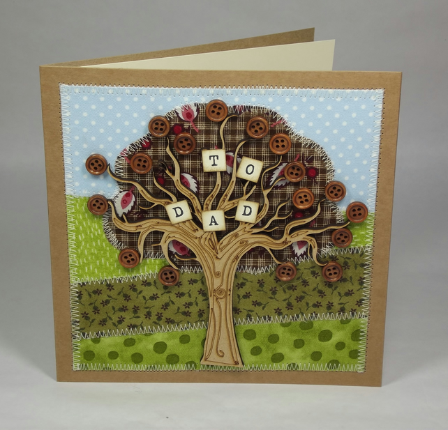 To Dad Fabric Greetings Card