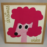 Polly The Poodle Fabric Christmas Greetings Card