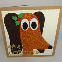 Dally The Dachsund Dog Fabric Christmas Greetings Card