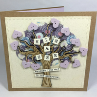 Him and Her Fabric Wedding Greetings Card