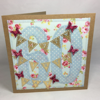 60th Birthday Fabric Greetings Card