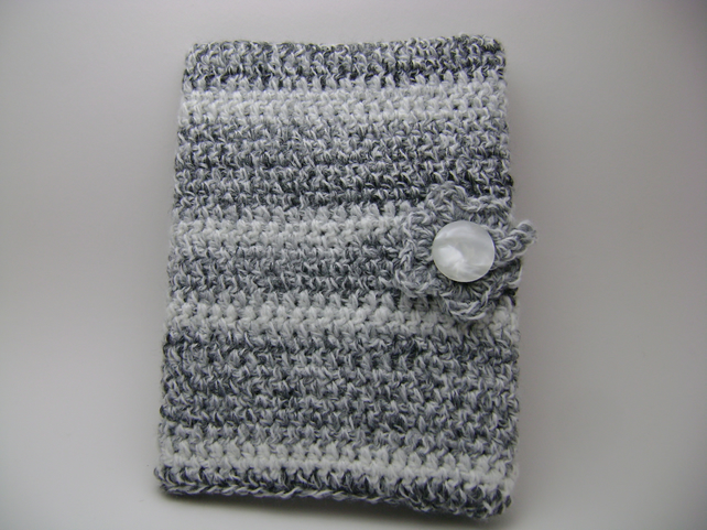 Crochet A Book Cover : Black and white crochet book cover folksy