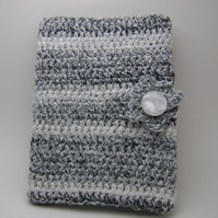 Black and white crochet book cover