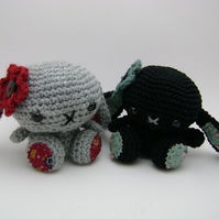 Little Crochet Bunnies Liquorice and Misty ( RESERVED)