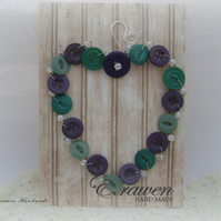 Button heart (green and purple)