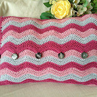 Crochet ripple boudoir cushion
