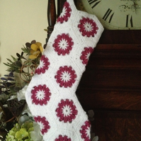 Christmas stocking white and pink