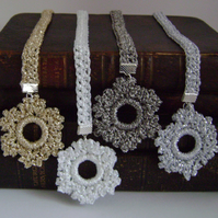 Crochet snowflake bookmark (pewter)