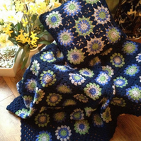 Crochet granny square blanket afghan throw with matching cushion