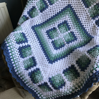 Asymmetrical Granny Square Crochet Blanket Lap Throw