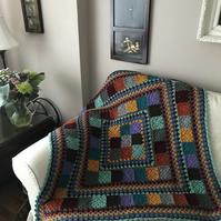 Granny Square Patchwork Style Crochet Blanket