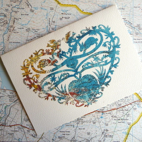 Oceans of Love Greeting Card, Papercut on Vintage map