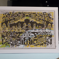 Waterloo Sunset, London Greeting Card, Papercut on Vintage map