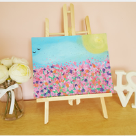 Original Acrylic Painting Pink Meadow