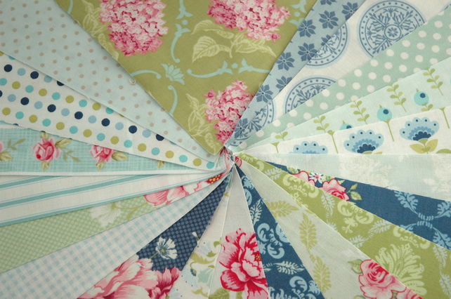 Tilda Fabric Patchwork Bundle X 20-Blue Green Pink-Quilting Patchwork Bunting