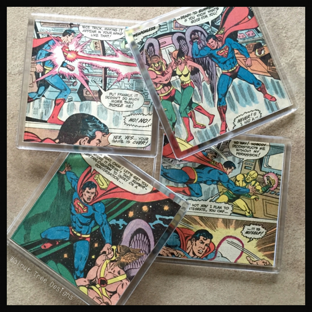 Superman Comic Book Coaster Set