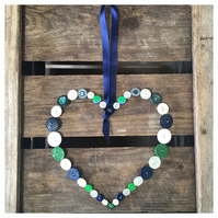 Large Button Heart Hanger