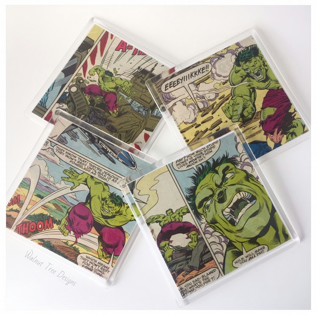 Incredible Hulk Comic Book Coaster Sets