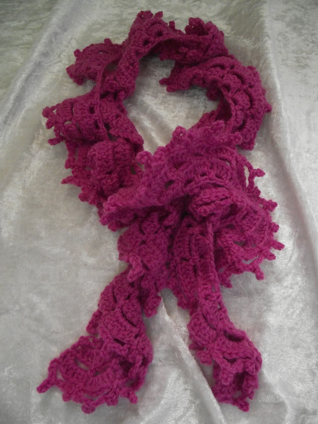 Hand knitted curly design scarf - Folksy