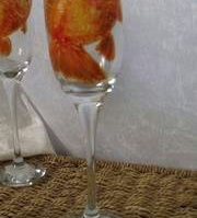 Hand painted Goldfish design champagne flute