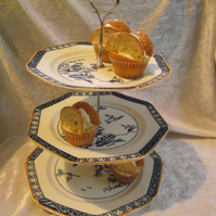Vintage Blue & white 3 tired cake stand
