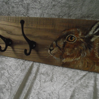 Handpainted Hare design coat hooks rack