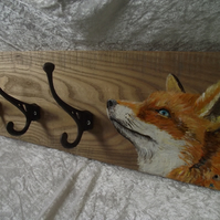 Handpainted fox design coat hooks rack