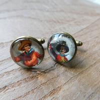 CUFFLINKS WITH VINTAGE COWBOY IMAGES