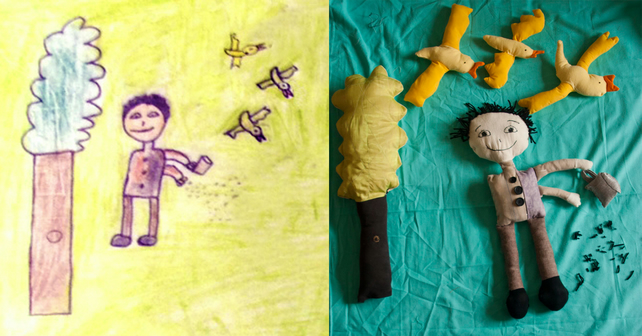 Custom Made Your Child's drawings soft toy