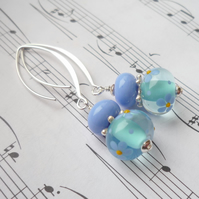 Lampwork Earrings - Forget Me Not