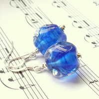 Lampwork Earrings - Cobalt Whispie