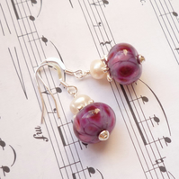 Lampwork earrings - Mulberry