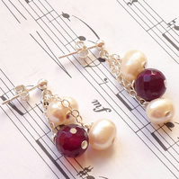 Gemstone pearl and agate earrings - Rosa