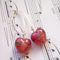 Murano heart earrings - Satin Pink