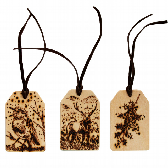 Three Woodburned Natural Christmas Scenes Gift Tags with Faux Leather Ribbon