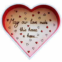 Love Home Quote Red and White Heart Shaped Painted Wooden Tray