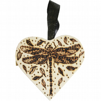 Mini Natural Wooden Heart Box with Woodburned Dragonfly Illustration