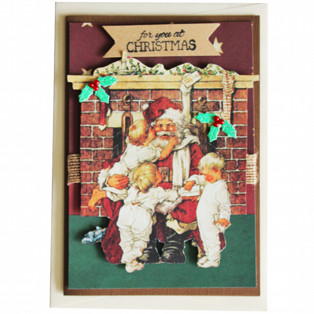 For You At Christmas Santa Fireplace A6 Card